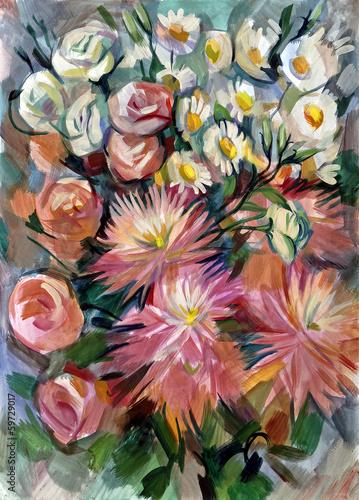 martwa-natura-bukiet-kwiatow-recznie-rysowane-gwaszem