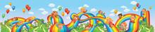 Children Slide Down On A Rainbow. Roller Coaster Ride
