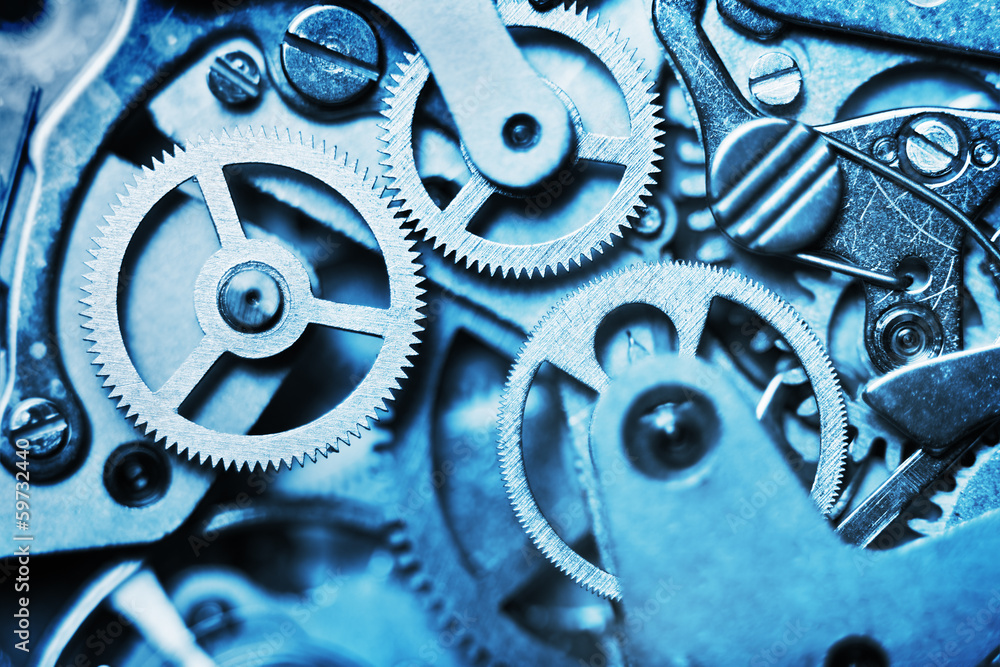 Fototapety, obrazy: clock mechanism made in the technique of toning