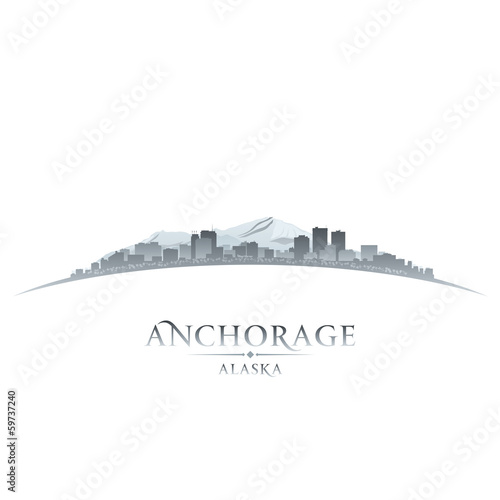 Anchorage Alaska city skyline silhouette white background Canvas Print