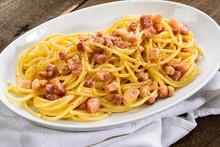 Italian Pasta, Carbonara Spaghetti In The Dish