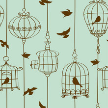 Seamless Pattern Of Birds And Cages