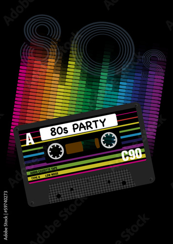 Fotografia  Vector 80s Party Background