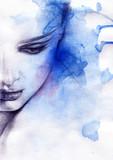 Beautiful woman.  Hand painted fashion illustration - 59748011