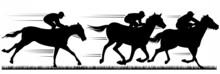 Black Horse Racing Silhouette