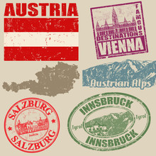 Set Of Grunge Stamps With Austria