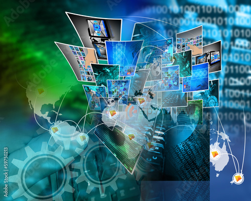 Foto op Canvas Stad gebouw Internet abstraction