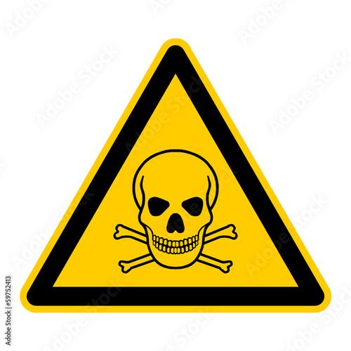Fotografía  wso2 WarnSchildOrange - english warning sign: skull and bones - German Warnschil