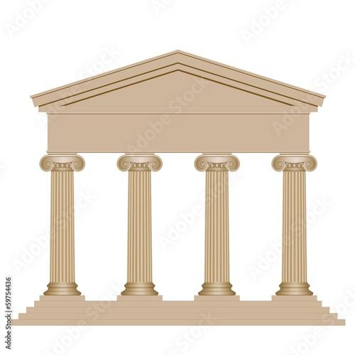 Façade d'un temple avec colonnes ioniques Fototapet