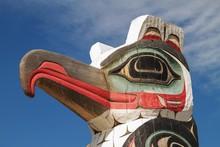 Detail Of Totem Pole In Alaska.