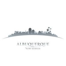 Albuquerque New Mexico City Skyline Silhouette White Background