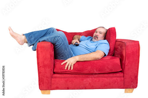 Obraz Man engrossed in watching television - fototapety do salonu