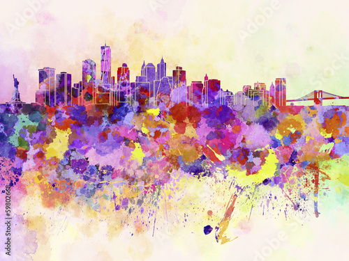 Foto op Aluminium New York New York skyline in watercolor background