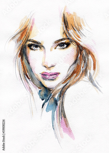 Beautiful woman. watercolor illustration