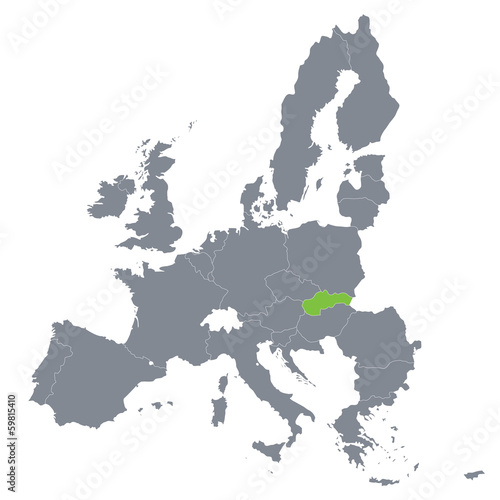 Fotografía map of European Union with the indication of Slovakia