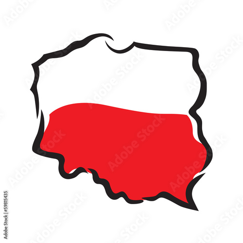 abstract map and flag of Poland Fototapeta