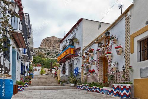 Foto Colourful street in Alicante, Spain
