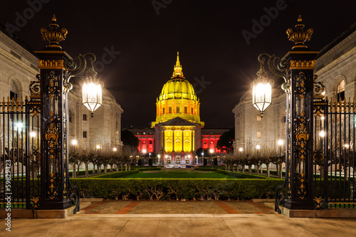 San Franicisco City Hall in at Night Canvas Print