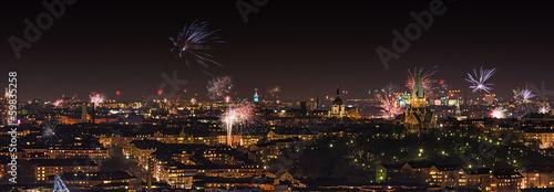 Cadres-photo bureau Pleine lune Fireworks over Stockholm