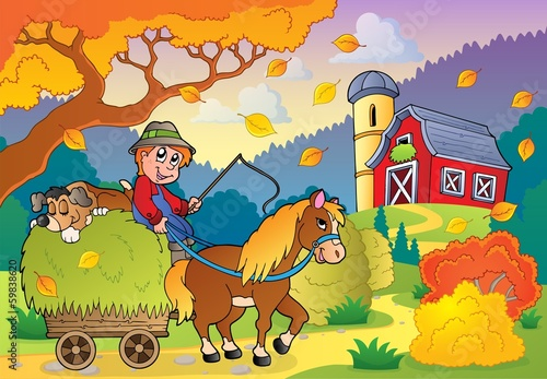 Fotobehang Boerderij Autumn farm theme 4