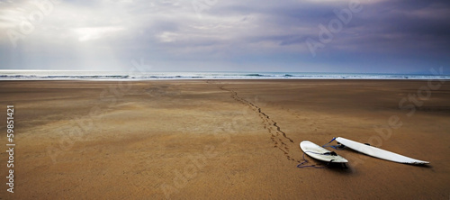 Photo Surfboards beach landscape - surfing art panorama