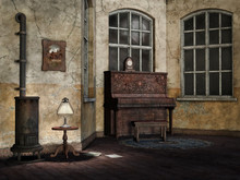 Salon Retro Z Pianinem I Starym Piecem