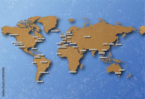 cartographie terre avec capitales