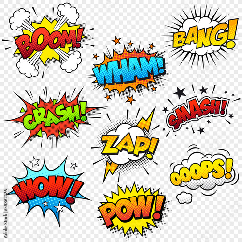 Printed kitchen splashbacks Fairytale World Comic Sound Effects
