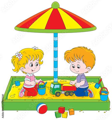 Fotografie, Obraz  girl and boy playing in a sandbox