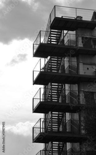 Valokuva Emergency fire staircase stairs against sky