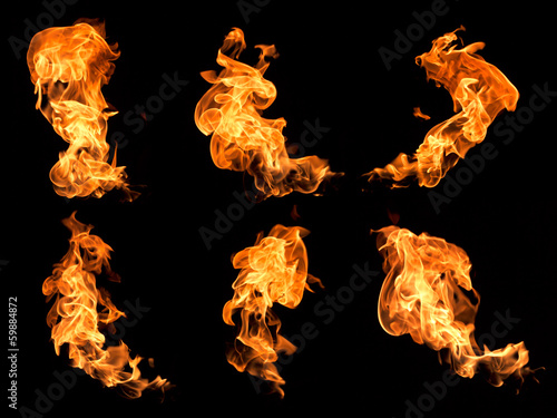 Photo Stands Fire / Flame Flames on a black background.