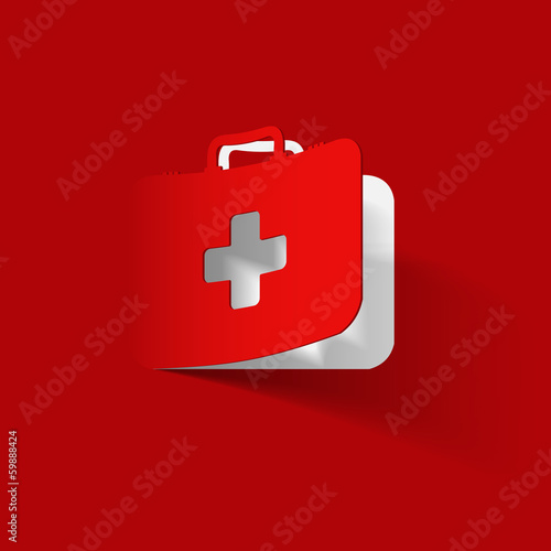 Fotografie, Obraz  First Aid kit box, paper sticker