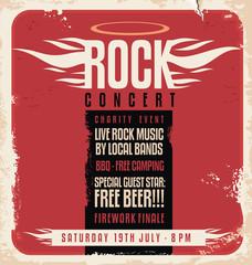 Fototapeta Rock concert retro poster design