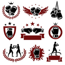 Boxing Labels And Icons Set. V...