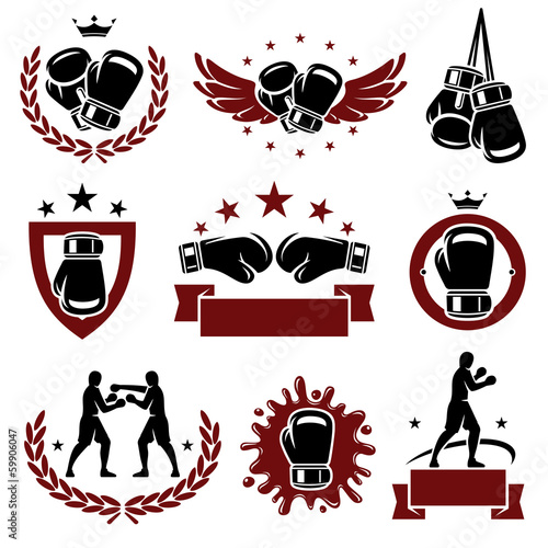 Láminas  Boxing labels and icons set. Vector