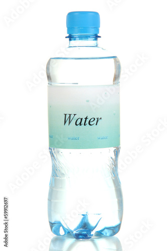 Water bottle with label isolated on white