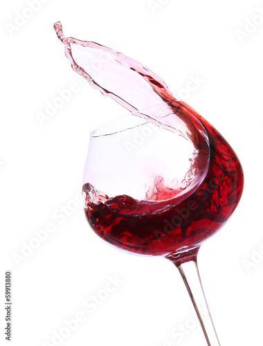 Naklejka - mata magnetyczna na lodówkę Wineglass with red wine, isolated on white