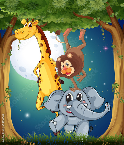 Three playful animals in the forest under the bright fullmoon