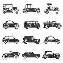 Classic Cars Icons, Vintage Car Icons