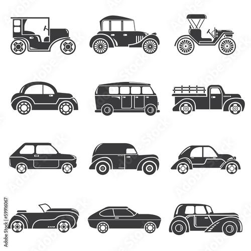 Fototapeta Ikony klasycznych samochodów na białym tle na wymiar