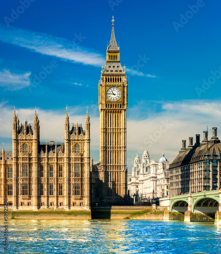 Fotografia  The Big Ben, the House of Parliament and the Westminster Bridge