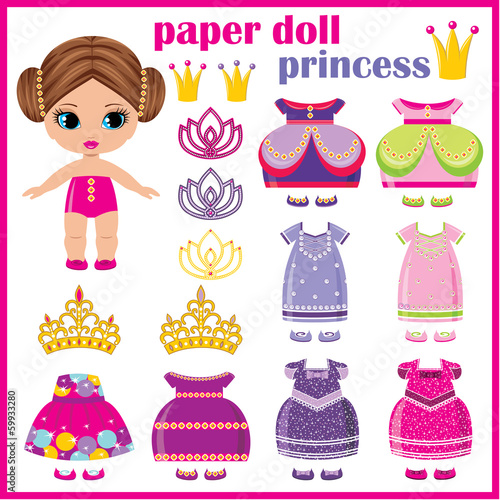 Cuadros en Lienzo Paper doll princess with a set of clothes.