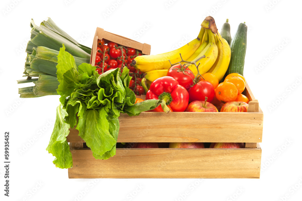 Wooden crate fresh vegetables and fruit