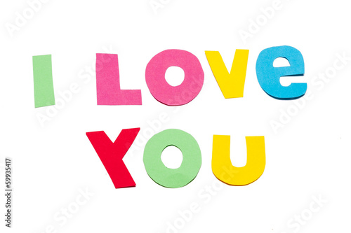 I love you text - white background Canvas Print