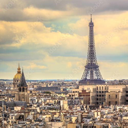 Papiers peints Paris Eiffel Tower in late afternoon ,Paris