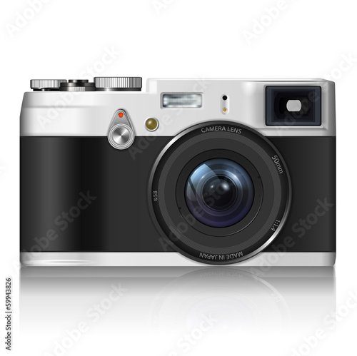 Vintage camera - isolated on white background