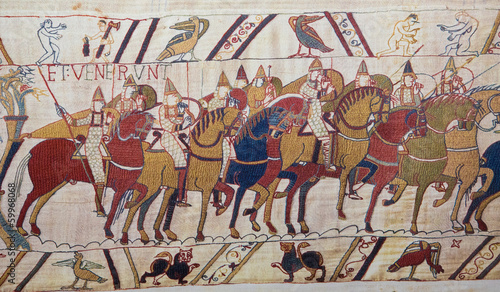 Fototapeta Bayeux tapestry - Norman invasion of England
