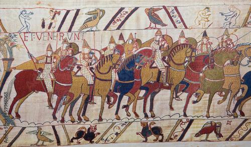 Bayeux tapestry - Norman invasion of England Billede på lærred