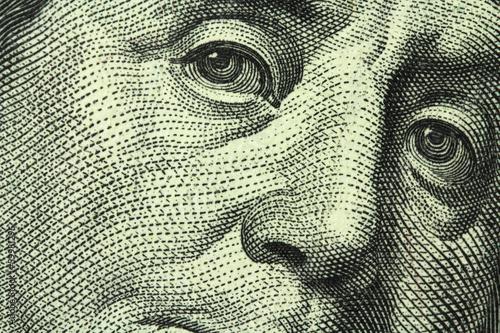 Fotografía  one hundred dollar bill closeup