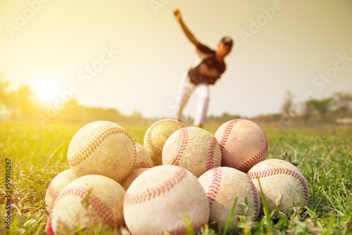 Fotografie, Obraz  Baseball players to practice pitching outside